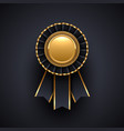 gold and black award badge with ribbon vector image vector image