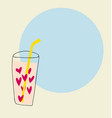 hand drawn glass of hearts water with straw vector image vector image