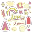 happy embroidery pink summer patches collection vector image vector image