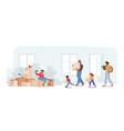 happy family relocation concept mother father vector image vector image