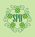 Happy St Patricks Day - beauty card in monogram vector image
