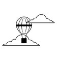 hot air balloon basket flying in the sky vector image vector image