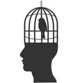 Human head with bird cage
