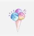 ice cream scoop cartoon icon cute strawberry vector image vector image