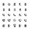 icon set - phone and calling solid icon style vector image vector image