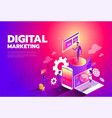 isometric style design - content marketing vector image vector image