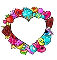 Kawaii heart frame with sweets and candies Crazy vector image vector image