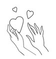 line art love and vector image