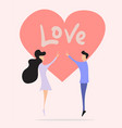 love couple gift card design template vector image