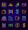 money neon icons vector image