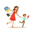 Mother And Son Running Shopping In Department vector image vector image
