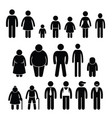 people character man woman children age size vector image