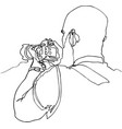 photographer with slr camera continuous line vector image