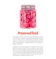 preserved food plums in jar vector image vector image