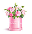 rose flower box valentines day realistic vector image