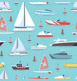 sailboats and boats seamless pattern design vector image vector image