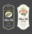 set of labels for olive oils elegant design for vector image vector image