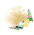 summer elements wreath frame on watercolor sand vector image