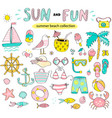summer set sun and fun hand drawn elements vector image
