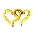 Two hand-drawn gold hearts vector image vector image