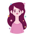 young woman beautiful portrait character avatar vector image vector image
