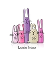 Funny rabbits family for your design vector image
