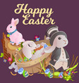 basket decorated easter eggs on green grass for vector image