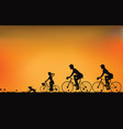 silhouette of family driving bike with beautiful vector image