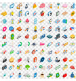 100 retail sales icons set isometric 3d style vector image vector image