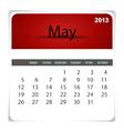 2013 calendar May vector image vector image