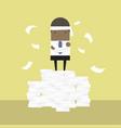 african businessman standing on paperwork vector image vector image