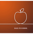 Back to school card with paper apple vector image