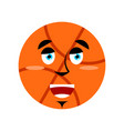 basketball happy emoji ball merry emotion isolated vector image vector image