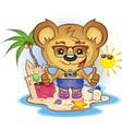 beach teddy bear cartoon character vector image vector image