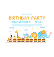 birthday invitation card with cute funny animals vector image vector image