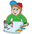 boy with crayons vector image