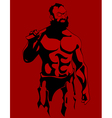 cartoon drawing of a muscular serious bearded man vector image vector image