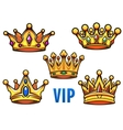 Cartoon golden crowns with colorful jewelry vector image