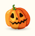 cartoon halloween scary face pumpkin on white vector image