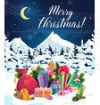 christmas gifts bag and new year presents on snow vector image vector image