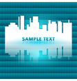 city silhouette reflected gradient blue green vector image
