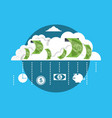 cloud with bill dollar money vector image vector image