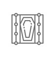 coffin in grave line icon vector image vector image