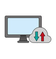 computer monitor cloud storage vector image vector image
