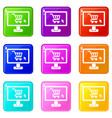 computer monitor with shopping cart icons 9 set vector image