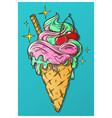 cone ice cream hand drawn vector image