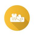 crooked teeth flat design long shadow glyph icon vector image