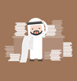 cute arab business man stress in work place and vector image