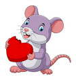 cute mouse eating red hat vector image