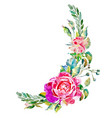 decorative hand painting of rose isolated on white vector image vector image